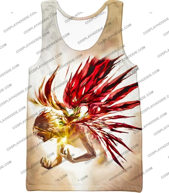 Tokyo Ghoul Bringing It All Out Cool Anime Promo White T-Shirt Tg105 Tank Top / Us Xxs (Asian Xs)