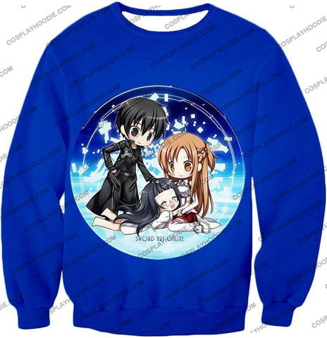 Image of Sword Art Online Super Cool Anime Promo Awesome Blue T-Shirt Sao055 Sweatshirt / Us Xxs (Asian Xs)