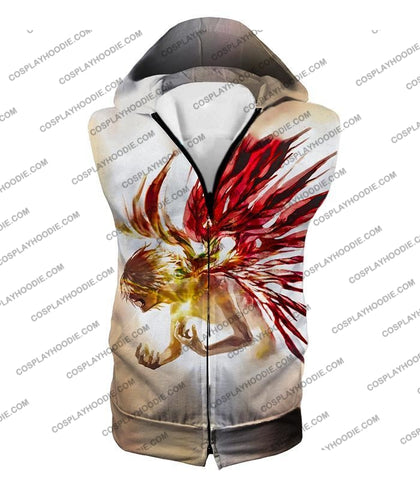 Image of Tokyo Ghoul Bringing It All Out Cool Anime Promo White T-Shirt Tg105 Hooded Tank Top / Us Xxs (Asian