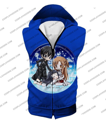 Image of Sword Art Online Super Cool Anime Promo Awesome Blue T-Shirt Sao055 Hooded Tank Top / Us Xxs (Asian