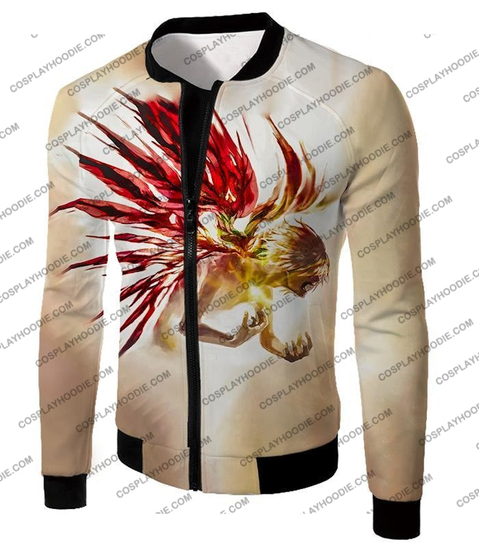 Tokyo Ghoul Bringing It All Out Cool Anime Promo White T-Shirt Tg105 Jacket / Us Xxs (Asian Xs)