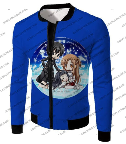 Image of Sword Art Online Super Cool Anime Promo Awesome Blue T-Shirt Sao055 Jacket / Us Xxs (Asian Xs)