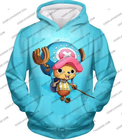 Image of One Piece Cotton Candy Lover Doctor Tony Chopper Cool Blue T-Shirt Op057 Hoodie / Us Xxs (Asian Xs)