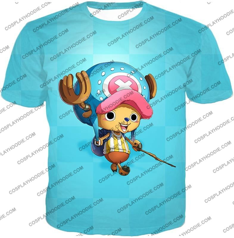 One Piece Cotton Candy Lover Doctor Tony Chopper Cool Blue T-Shirt Op057 / Us Xxs (Asian Xs)