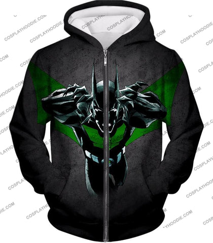 Image of Cool Batman Merge Green Lantern Action Grey T-Shirt Bm057 Zip Up Hoodie / Us Xxs (Asian Xs)
