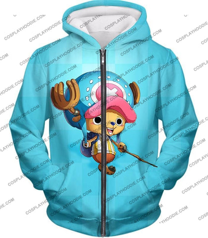 Image of One Piece Cotton Candy Lover Doctor Tony Chopper Cool Blue T-Shirt Op057 Zip Up Hoodie / Us Xxs