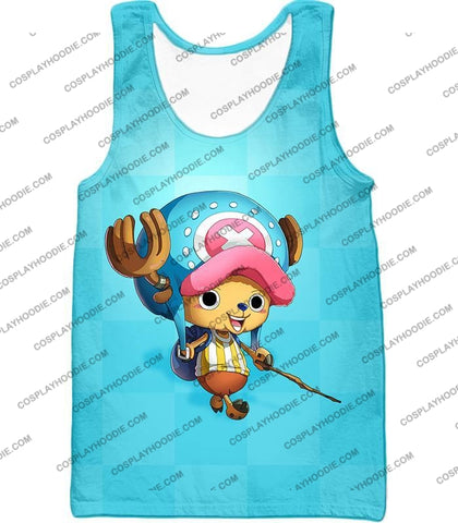 Image of One Piece Cotton Candy Lover Doctor Tony Chopper Cool Blue T-Shirt Op057 Tank Top / Us Xxs (Asian