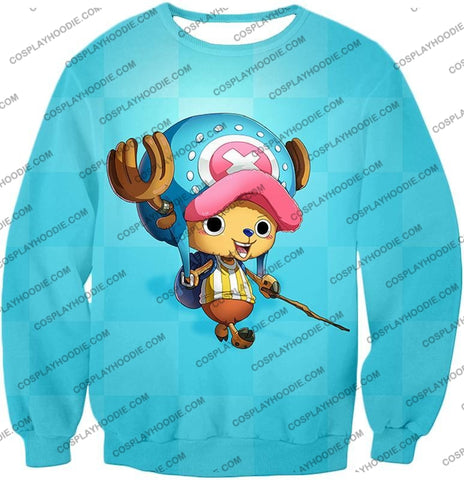 Image of One Piece Cotton Candy Lover Doctor Tony Chopper Cool Blue T-Shirt Op057 Sweatshirt / Us Xxs (Asian