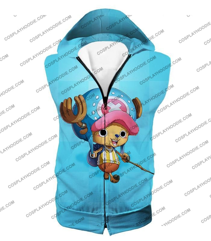One Piece Cotton Candy Lover Doctor Tony Chopper Cool Blue T-Shirt Op057 Hooded Tank Top / Us Xxs
