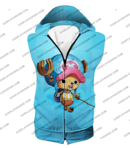 Image of One Piece Cotton Candy Lover Doctor Tony Chopper Cool Blue T-Shirt Op057 Hooded Tank Top / Us Xxs