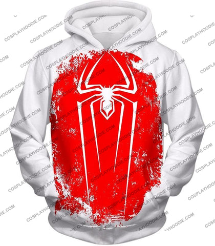 Image of Amazing Spiderman Red Logo Promo White T-Shirt Sp058 Hoodie / Us Xxs (Asian Xs)