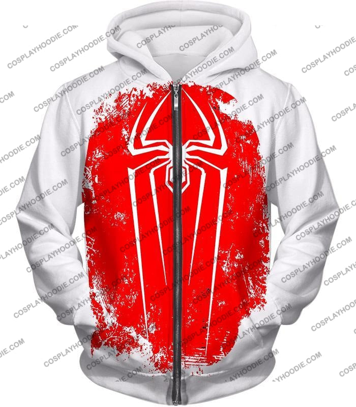 Amazing Spiderman Red Logo Promo White T-Shirt Sp058 Zip Up Hoodie / Us Xxs (Asian Xs)