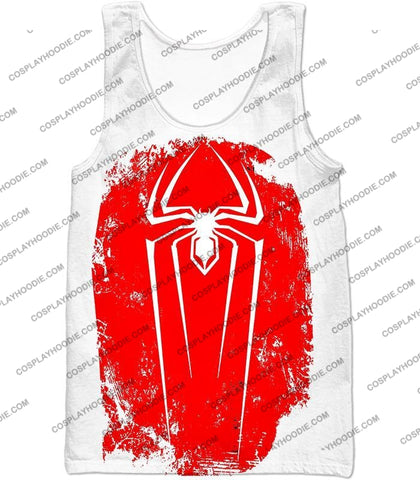 Image of Amazing Spiderman Red Logo Promo White T-Shirt Sp058 Tank Top / Us Xxs (Asian Xs)