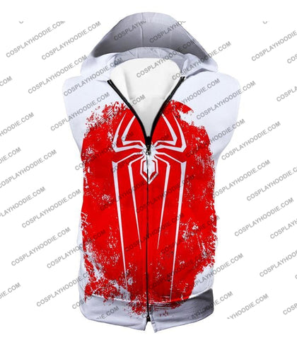 Image of Amazing Spiderman Red Logo Promo White T-Shirt Sp058 Hooded Tank Top / Us Xxs (Asian Xs)