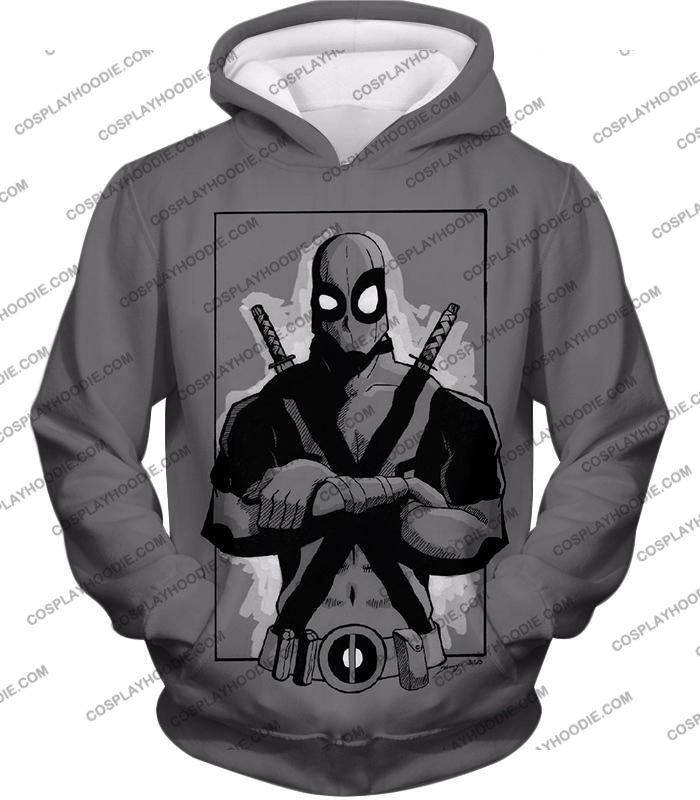 Super Cool Grey Deadpool Promo Pose T-Shirt Dp059 Hoodie / Us Xxs (Asian Xs)