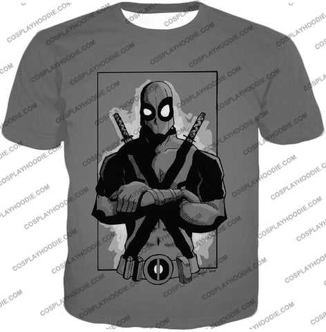 Image of Super Cool Grey Deadpool Promo Pose T-Shirt Dp059 / Us Xxs (Asian Xs)