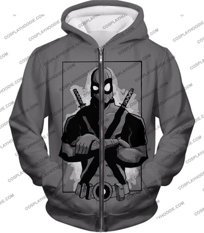 Image of Super Cool Grey Deadpool Promo Pose T-Shirt Dp059 Zip Up Hoodie / Us Xxs (Asian Xs)