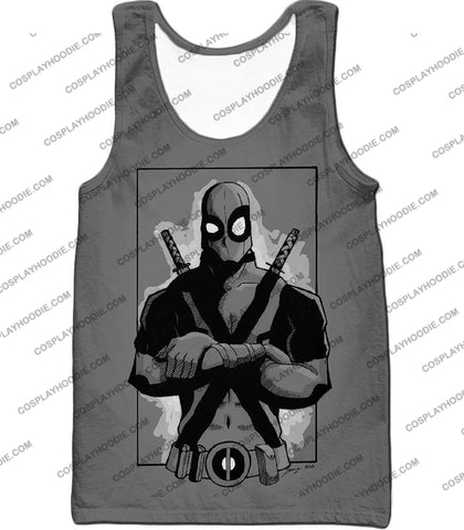 Image of Super Cool Grey Deadpool Promo Pose T-Shirt Dp059 Tank Top / Us Xxs (Asian Xs)