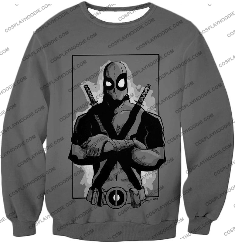 Super Cool Grey Deadpool Promo Pose T-Shirt Dp059 Sweatshirt / Us Xxs (Asian Xs)