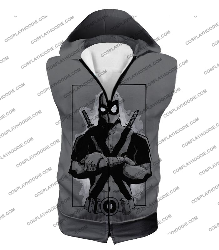 Super Cool Grey Deadpool Promo Pose T-Shirt Dp059 Hooded Tank Top / Us Xxs (Asian Xs)