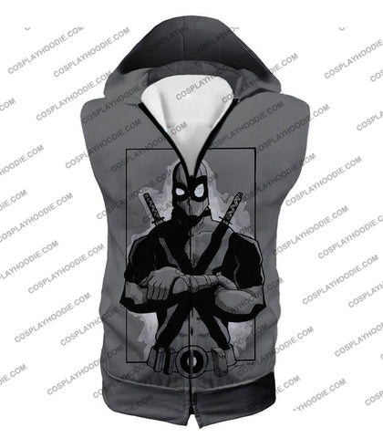 Image of Super Cool Grey Deadpool Promo Pose T-Shirt Dp059 Hooded Tank Top / Us Xxs (Asian Xs)