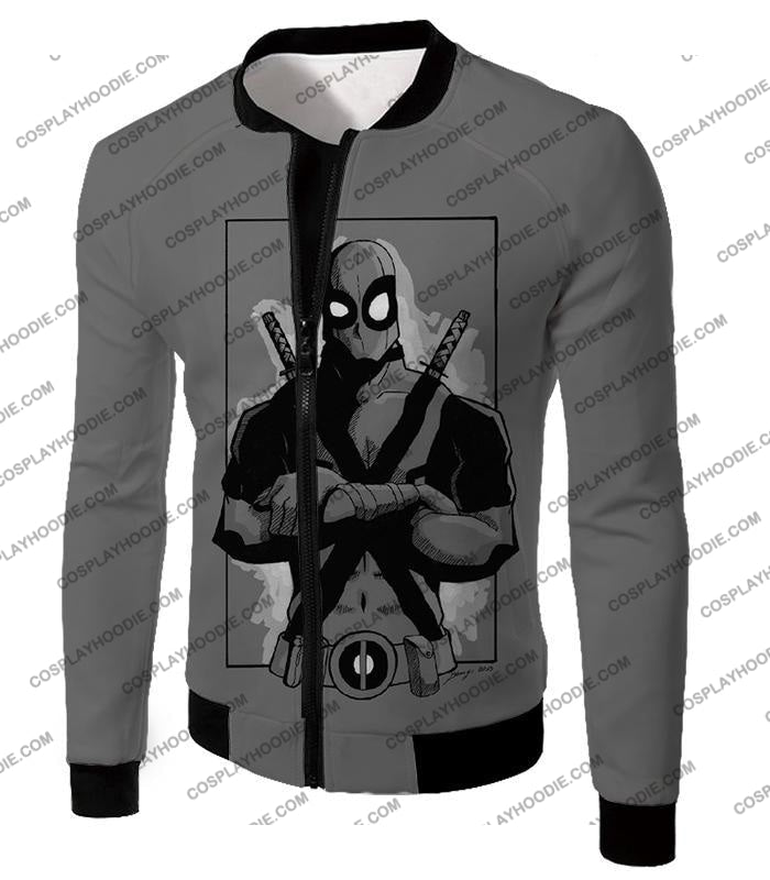 Super Cool Grey Deadpool Promo Pose T-Shirt Dp059 Jacket / Us Xxs (Asian Xs)