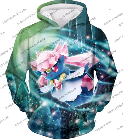 Image of Pokemon Cool Fairy Rock Type Diancie T-Shirt Pkm006 Hoodie / Us Xxs (Asian Xs)