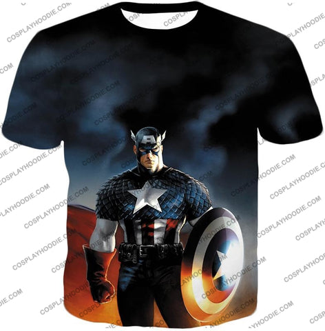 Image of Ultimate American Hero Captain America Cosplay Black T-Shirt Ca006 / Us Xxs (Asian Xs)