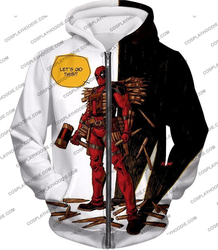 Extremely Comical Marvel Superhero Deadpool White T-Shirt Dp006 Zip Up Hoodie / Us Xxs (Asian Xs)