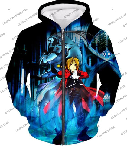 Image of Fullmetal Alchemist Brothers Forever Edward Elrich X Alponse Cool Anime Action T-Shirt Fa006 Zip Up
