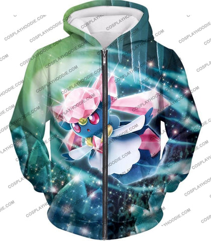 Image of Pokemon Cool Fairy Rock Type Diancie T-Shirt Pkm006 Zip Up Hoodie / Us Xxs (Asian Xs)