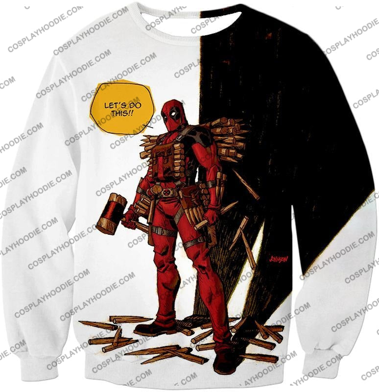 Extremely Comical Marvel Superhero Deadpool White T-Shirt Dp006 Sweatshirt / Us Xxs (Asian Xs)