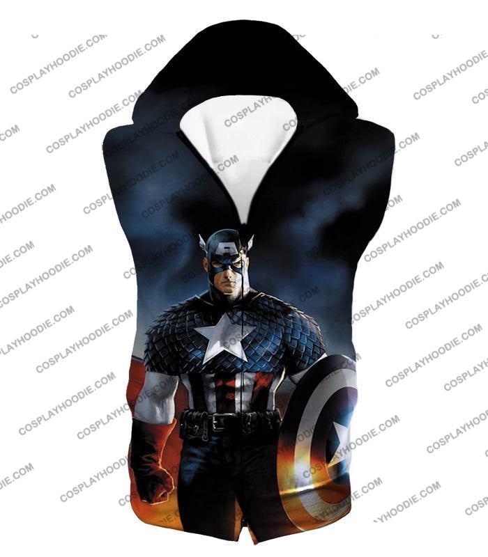 Ultimate American Hero Captain America Cosplay Black T-Shirt Ca006 Hooded Tank Top / Us Xxs (Asian