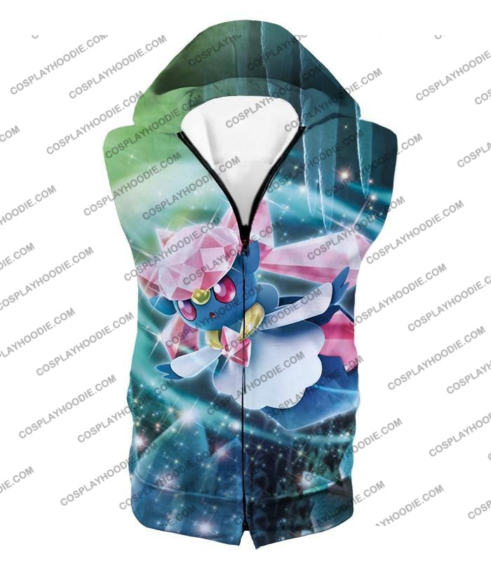 Pokemon Cool Fairy Rock Type Diancie T-Shirt Pkm006 Hooded Tank Top / Us Xxs (Asian Xs)