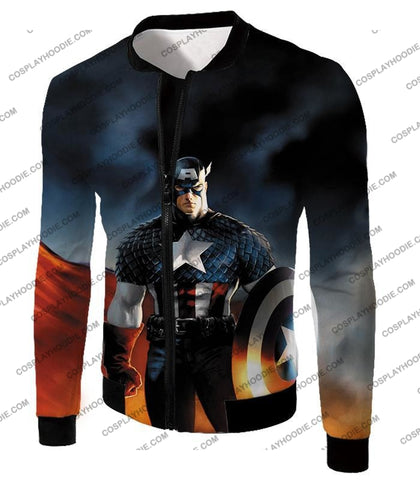 Image of Ultimate American Hero Captain America Cosplay Black T-Shirt Ca006 Jacket / Us Xxs (Asian Xs)