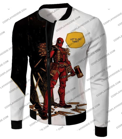 Image of Extremely Comical Marvel Superhero Deadpool White T-Shirt Dp006 Jacket / Us Xxs (Asian Xs)