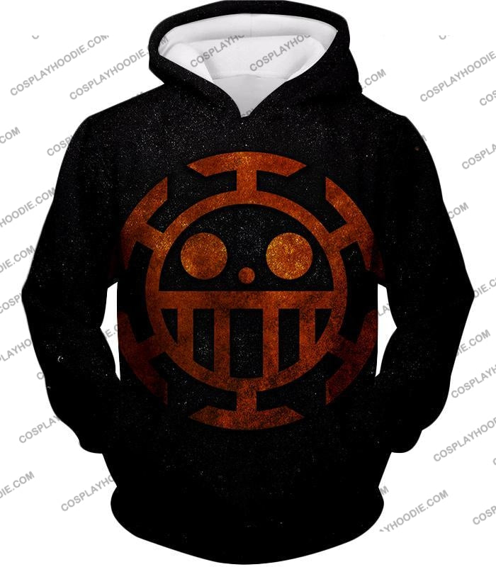 One Piece Cool Heart Pirates Flag Logo Black T-Shirt Op060 Hoodie / Us Xxs (Asian Xs)