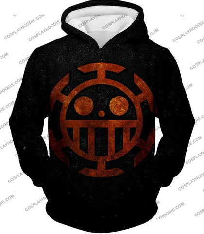 Image of One Piece Cool Heart Pirates Flag Logo Black T-Shirt Op060 Hoodie / Us Xxs (Asian Xs)