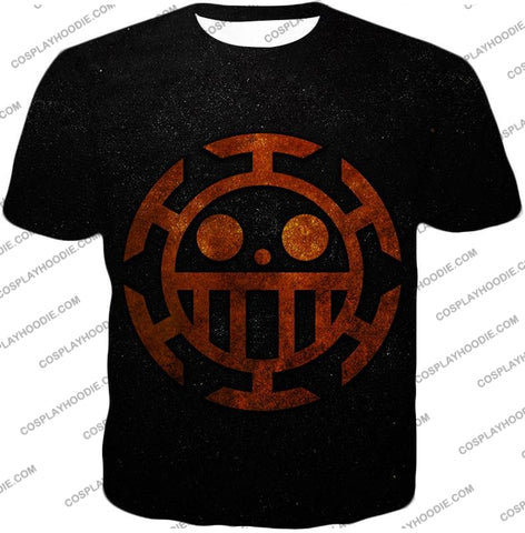 Image of One Piece Cool Heart Pirates Flag Logo Black T-Shirt Op060 / Us Xxs (Asian Xs)