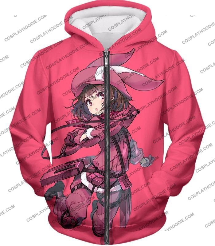 Sword Art Online Gun Gale Pink Devil Kohiruimaki Karen Aka Llenn Cool Promo T-Shirt Sao060 Zip Up