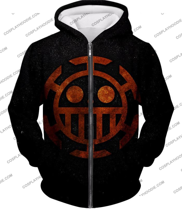 One Piece Cool Heart Pirates Flag Logo Black T-Shirt Op060 Zip Up Hoodie / Us Xxs (Asian Xs)