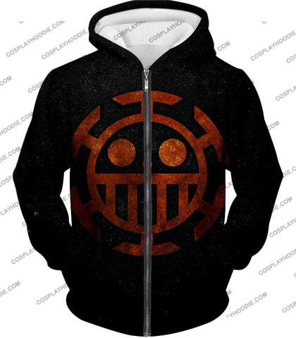 Image of One Piece Cool Heart Pirates Flag Logo Black T-Shirt Op060 Zip Up Hoodie / Us Xxs (Asian Xs)