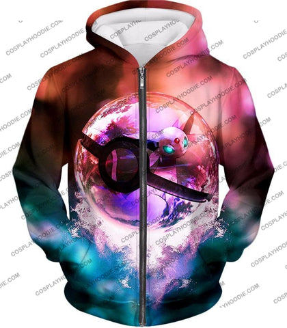 Image of Pokemon Mystic Mew Pokeball Amazing Colourful T-Shirt Pkm060 Zip Up Hoodie / Us Xxs (Asian Xs)