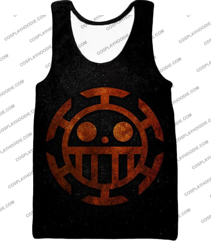 Image of One Piece Cool Heart Pirates Flag Logo Black T-Shirt Op060 Tank Top / Us Xxs (Asian Xs)