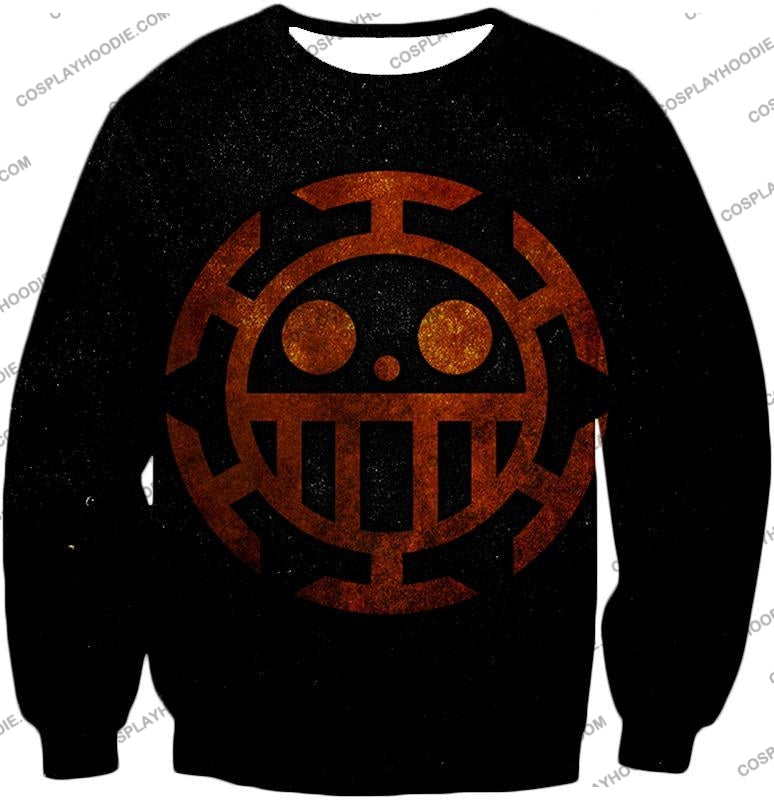 One Piece Cool Heart Pirates Flag Logo Black T-Shirt Op060 Sweatshirt / Us Xxs (Asian Xs)