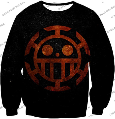 Image of One Piece Cool Heart Pirates Flag Logo Black T-Shirt Op060 Sweatshirt / Us Xxs (Asian Xs)