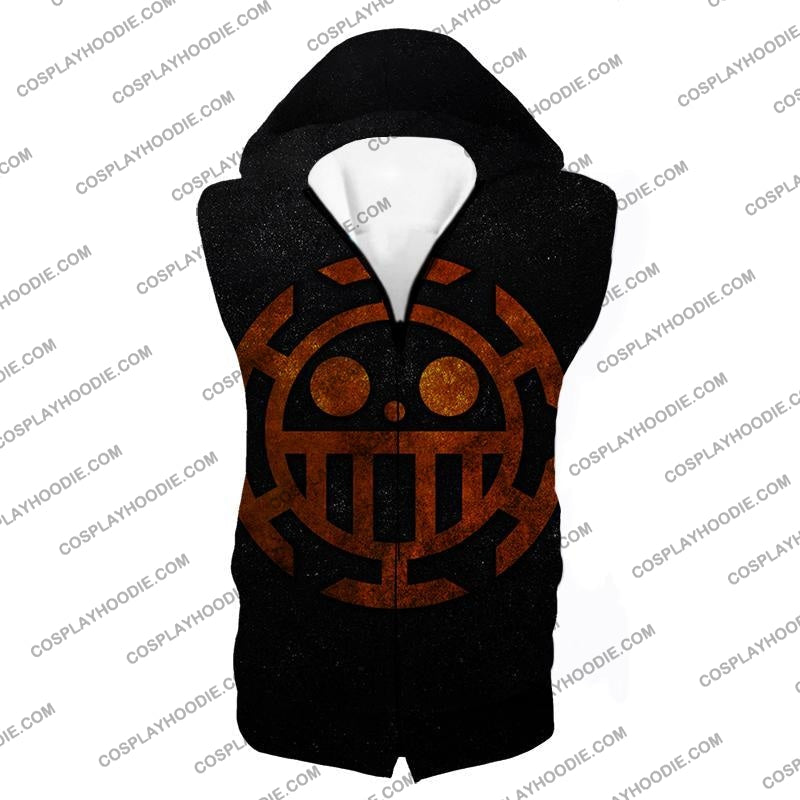 One Piece Cool Heart Pirates Flag Logo Black T-Shirt Op060 Hooded Tank Top / Us Xxs (Asian Xs)