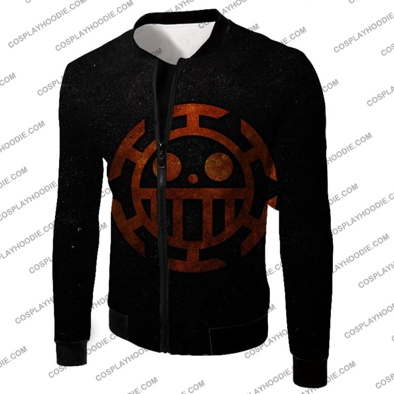 One Piece Cool Heart Pirates Flag Logo Black T-Shirt Op060 Jacket / Us Xxs (Asian Xs)