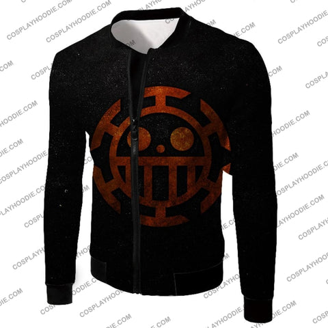Image of One Piece Cool Heart Pirates Flag Logo Black T-Shirt Op060 Jacket / Us Xxs (Asian Xs)