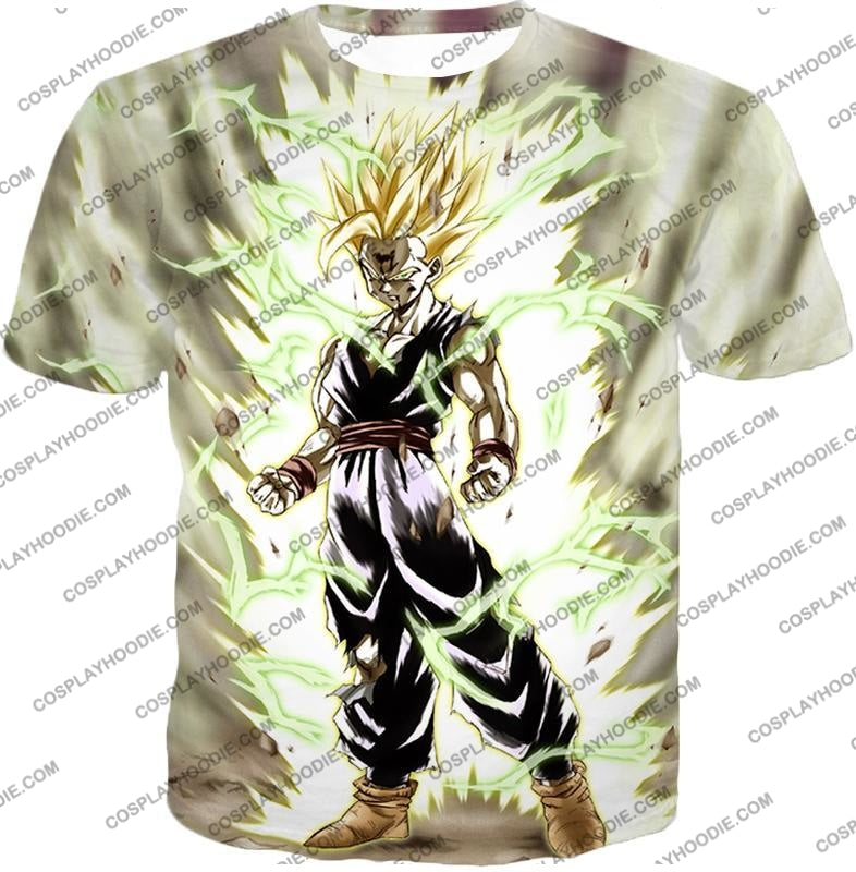 Dragon Ball Super Favourite Fighter Gohan Saiyan 2 Awesome Action White T-Shirt Dbs061 / Us Xxs
